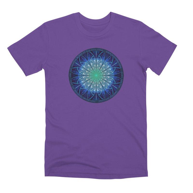 Beautiful Baby Blue & Powdered Fractal Snowflakes Men's T-Shirt by The Fractal Art of San Jaya Prime