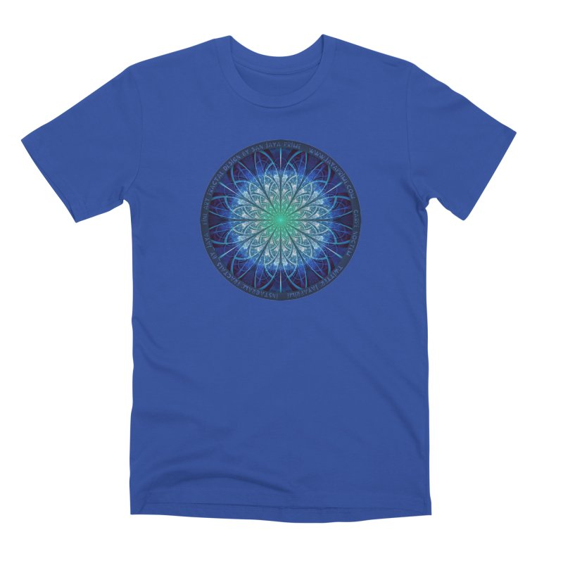 Beautiful Baby Blue & Powdered Fractal Snowflakes Men's Premium T-Shirt by The Fractal Art of San Jaya Prime