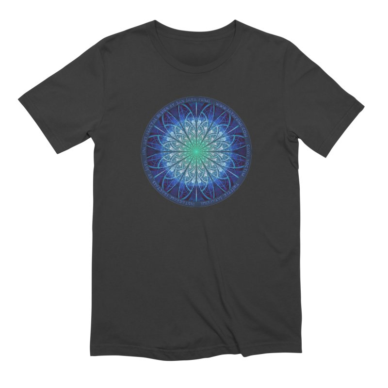 Beautiful Baby Blue & Powdered Fractal Snowflakes Men's Extra Soft T-Shirt by The Fractal Art of San Jaya Prime
