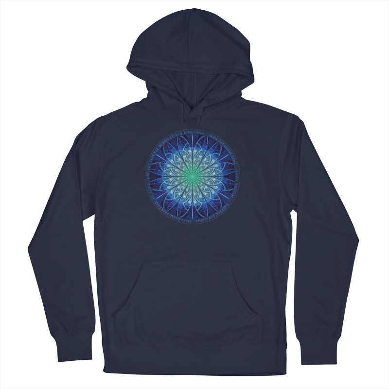Beautiful Baby Blue & Powdered Fractal Snowflakes Men's French Terry Pullover Hoody by The Fractal Art of San Jaya Prime