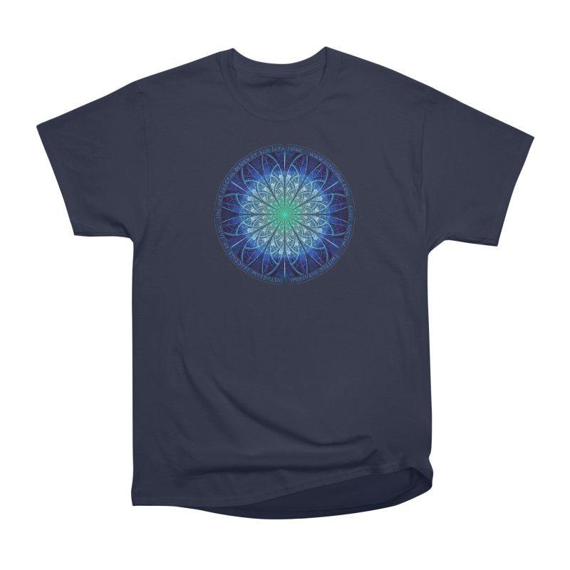 Beautiful Baby Blue & Powdered Fractal Snowflakes Men's Heavyweight T-Shirt by The Fractal Art of San Jaya Prime
