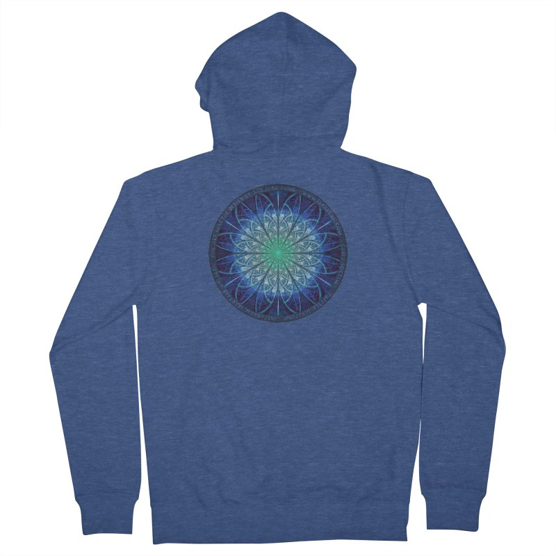 Beautiful Baby Blue & Powdered Fractal Snowflakes Men's French Terry Zip-Up Hoody by The Fractal Art of San Jaya Prime