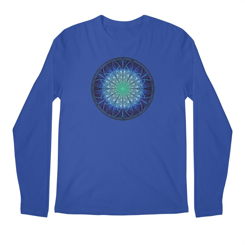 Beautiful Baby Blue & Powdered Fractal Snowflakes Men's Regular Longsleeve T-Shirt by The Fractal Art of San Jaya Prime