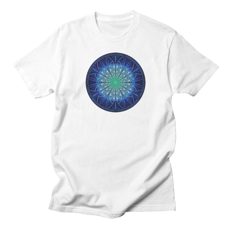 Beautiful Baby Blue & Powdered Fractal Snowflakes Women's Regular Unisex T-Shirt by The Fractal Art of San Jaya Prime