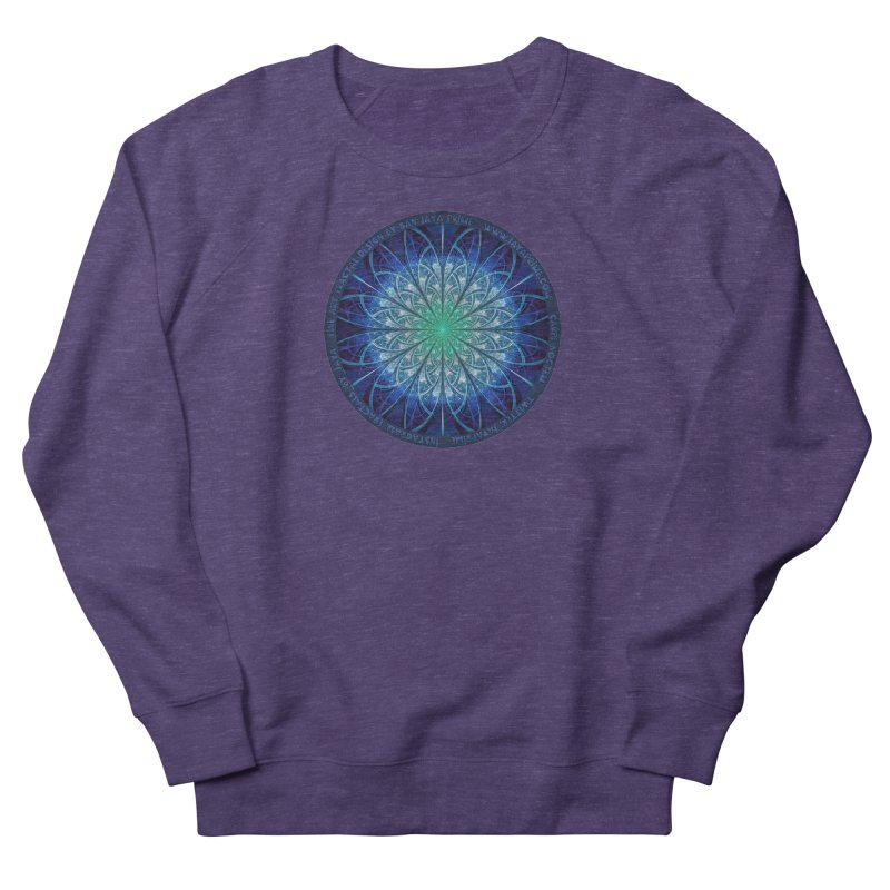 Beautiful Baby Blue & Powdered Fractal Snowflakes Men's French Terry Sweatshirt by The Fractal Art of San Jaya Prime