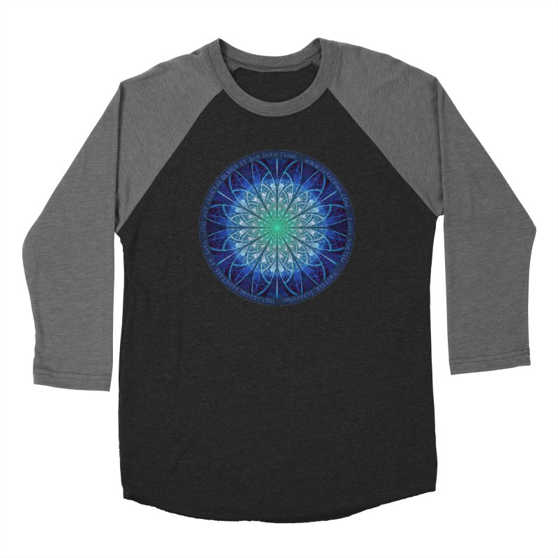 Beautiful Baby Blue & Powdered Fractal Snowflakes Women's Baseball Triblend Longsleeve T-Shirt by The Fractal Art of San Jaya Prime
