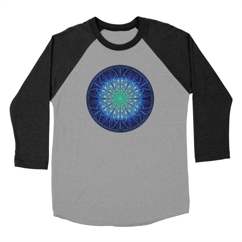Beautiful Baby Blue & Powdered Fractal Snowflakes Men's Baseball Triblend Longsleeve T-Shirt by The Fractal Art of San Jaya Prime