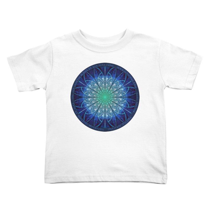 Beautiful Baby Blue & Powdered Fractal Snowflakes Kids Toddler T-Shirt by The Fractal Art of San Jaya Prime