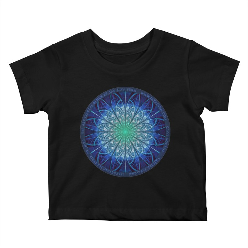 Beautiful Baby Blue & Powdered Fractal Snowflakes Kids Baby T-Shirt by The Fractal Art of San Jaya Prime