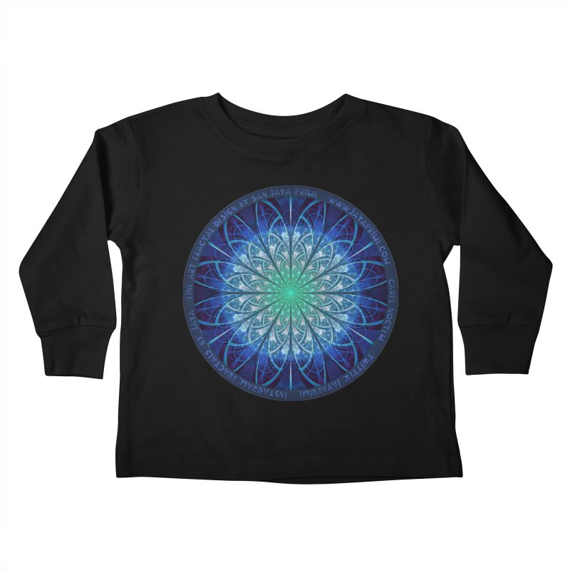Beautiful Baby Blue & Powdered Fractal Snowflakes Kids Toddler Longsleeve T-Shirt by The Fractal Art of San Jaya Prime