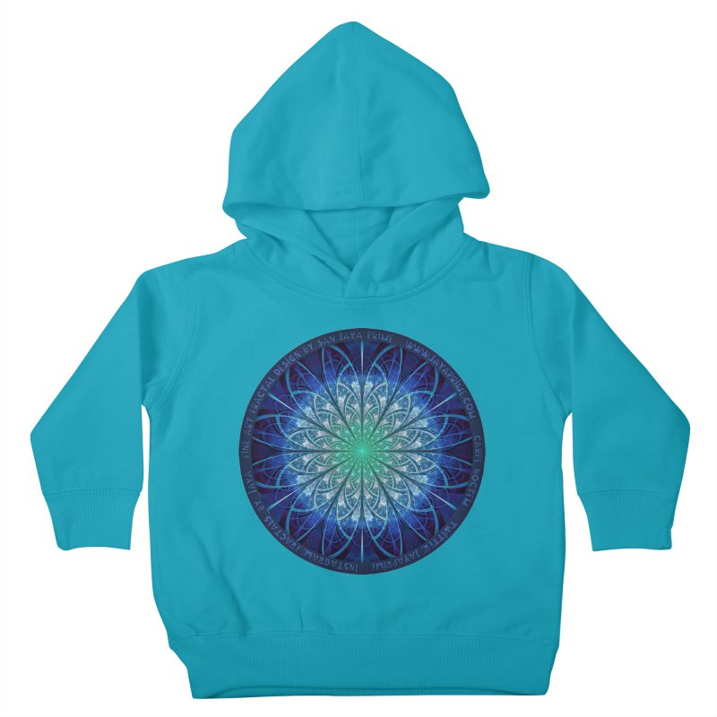 Beautiful Baby Blue & Powdered Fractal Snowflakes Kids Toddler Pullover Hoody by The Fractal Art of San Jaya Prime