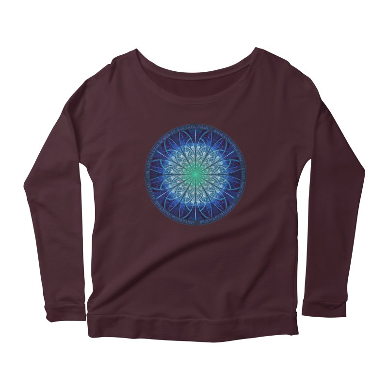 Beautiful Baby Blue & Powdered Fractal Snowflakes Women's Scoop Neck Longsleeve T-Shirt by The Fractal Art of San Jaya Prime