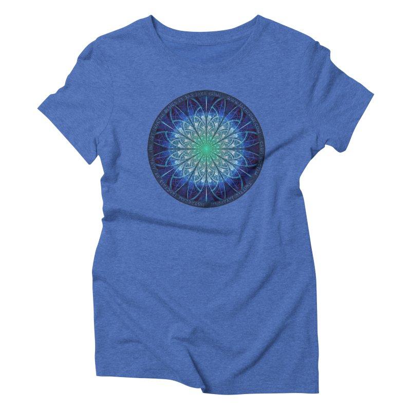 Beautiful Baby Blue & Powdered Fractal Snowflakes Women's Triblend T-Shirt by The Fractal Art of San Jaya Prime
