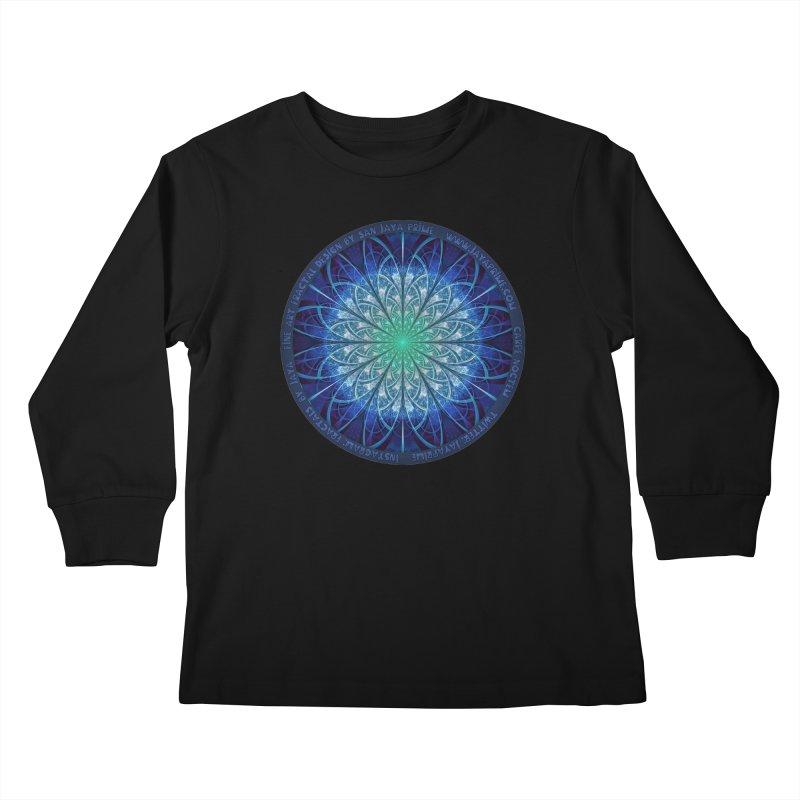 Beautiful Baby Blue & Powdered Fractal Snowflakes Kids Longsleeve T-Shirt by The Fractal Art of San Jaya Prime