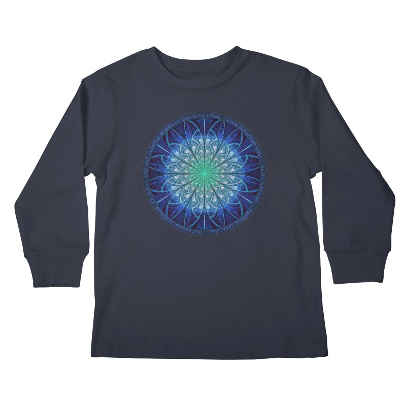 Beautiful Baby Blue & Powdered Fractal Snowflakes Kids Longsleeve T-Shirt by The Fractal Art of San Jaya Prime