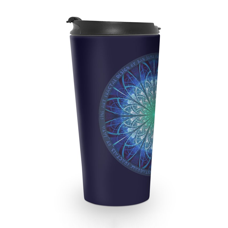 Beautiful Baby Blue & Powdered Fractal Snowflakes Accessories Travel Mug by The Fractal Art of San Jaya Prime