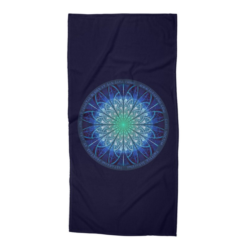 Beautiful Baby Blue & Powdered Fractal Snowflakes Accessories Beach Towel by The Fractal Art of San Jaya Prime