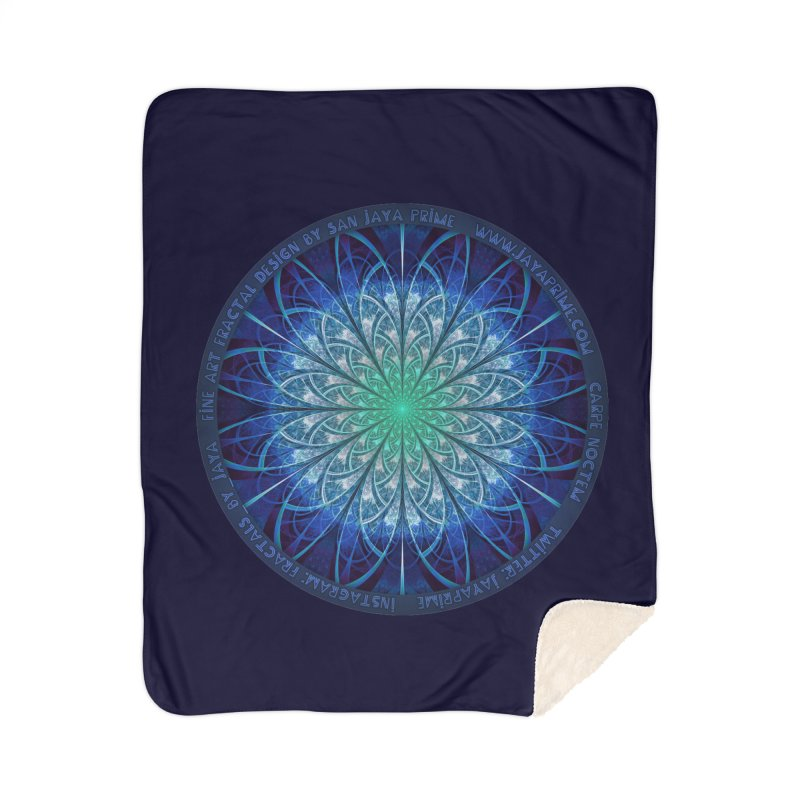 Beautiful Baby Blue & Powdered Fractal Snowflakes Home Sherpa Blanket Blanket by The Fractal Art of San Jaya Prime