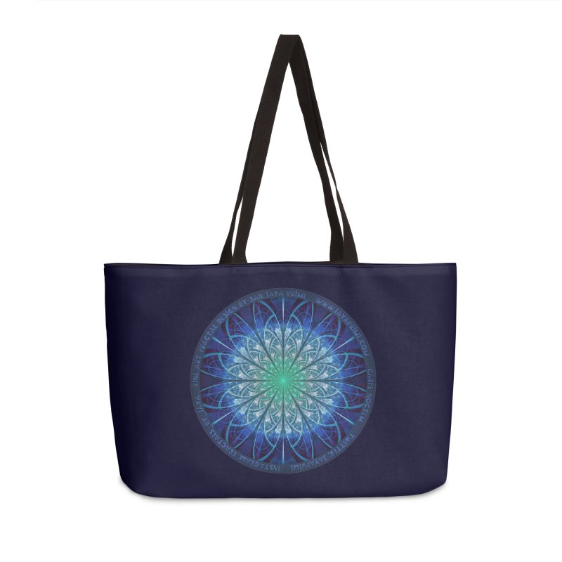 Beautiful Baby Blue & Powdered Fractal Snowflakes Accessories Weekender Bag Bag by The Fractal Art of San Jaya Prime