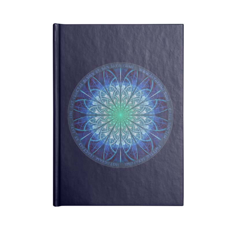 Beautiful Baby Blue & Powdered Fractal Snowflakes Accessories Lined Journal Notebook by The Fractal Art of San Jaya Prime