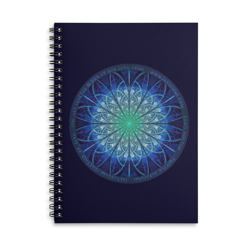 Beautiful Baby Blue & Powdered Fractal Snowflakes Accessories Lined Spiral Notebook by The Fractal Art of San Jaya Prime