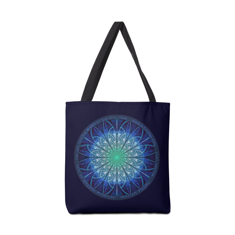Beautiful Baby Blue & Powdered Fractal Snowflakes Accessories Tote Bag Bag by The Fractal Art of San Jaya Prime