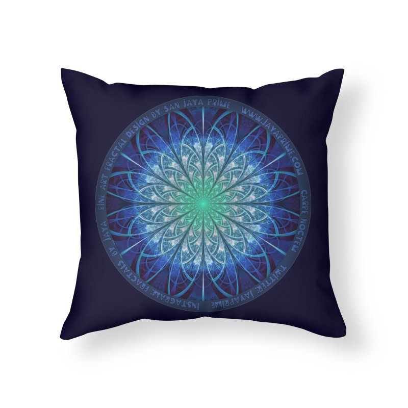 Beautiful Baby Blue & Powdered Fractal Snowflakes Home Throw Pillow by The Fractal Art of San Jaya Prime