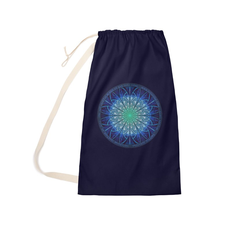 Beautiful Baby Blue & Powdered Fractal Snowflakes Accessories Bag by The Fractal Art of San Jaya Prime