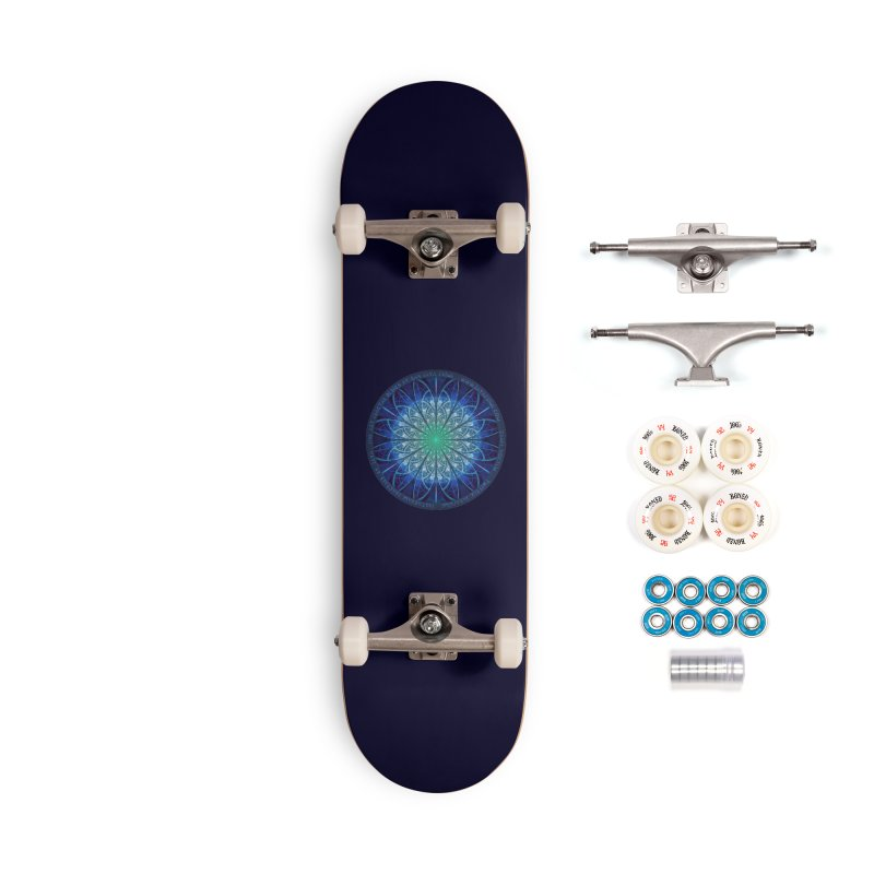 Beautiful Baby Blue & Powdered Fractal Snowflakes Accessories Complete - Premium Skateboard by The Fractal Art of San Jaya Prime