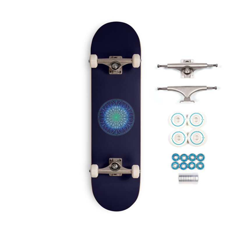 Beautiful Baby Blue & Powdered Fractal Snowflakes Accessories Complete - Basic Skateboard by The Fractal Art of San Jaya Prime
