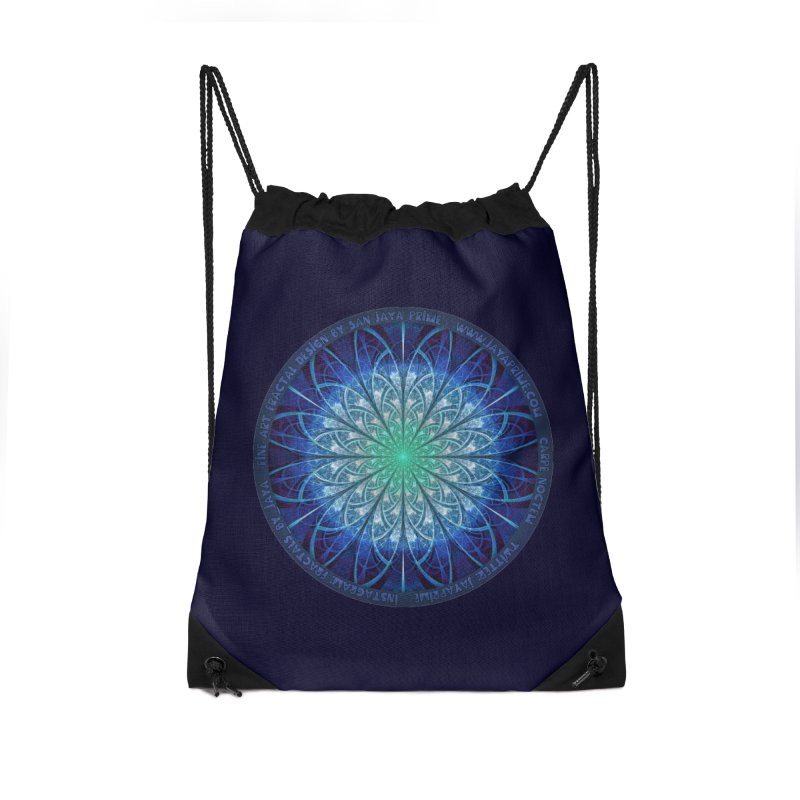 Beautiful Baby Blue & Powdered Fractal Snowflakes Accessories Drawstring Bag Bag by The Fractal Art of San Jaya Prime
