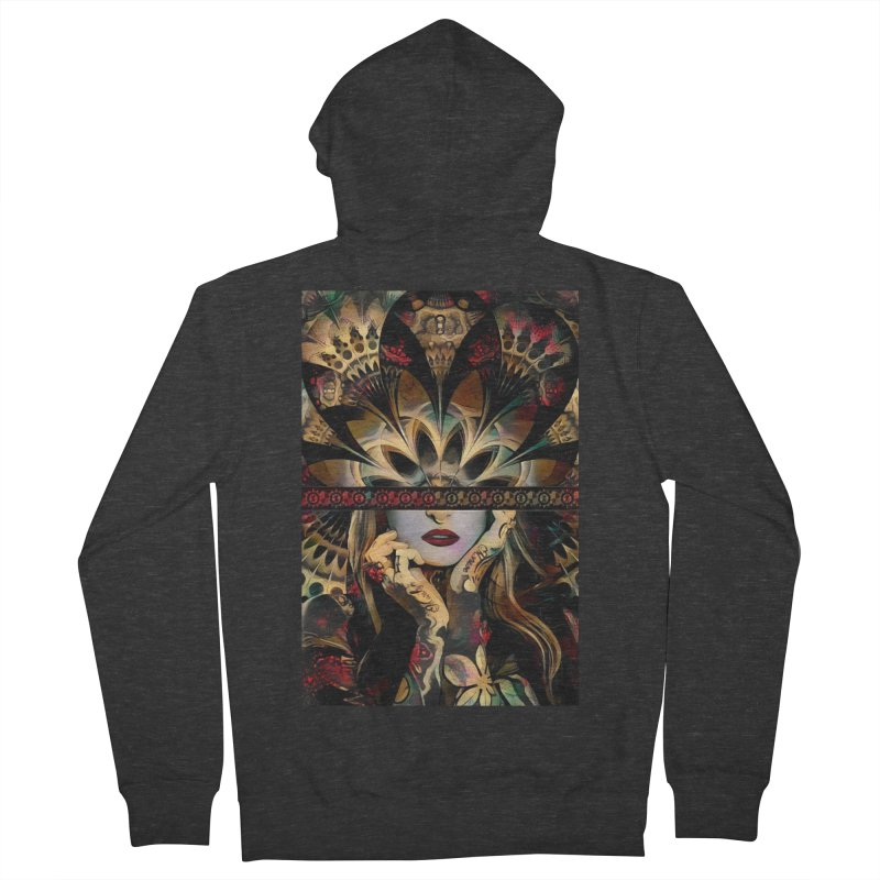 The Lady of a Thousand Swords (Desert Tribal Fractal Fusion) Men's French Terry Zip-Up Hoody by The Fractal Art of San Jaya Prime