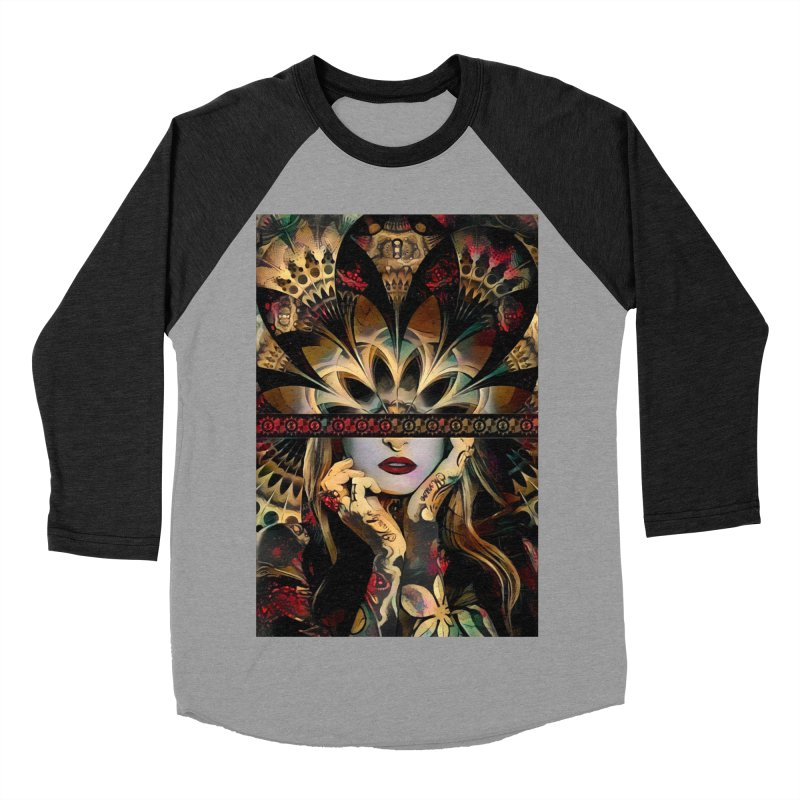 The Lady of a Thousand Swords (Desert Tribal Fractal Fusion) Men's Baseball Triblend Longsleeve T-Shirt by The Fractal Art of San Jaya Prime