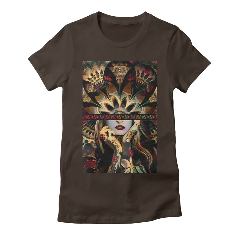 The Lady of a Thousand Swords (Desert Tribal Fractal Fusion) Women's Fitted T-Shirt by The Fractal Art of San Jaya Prime