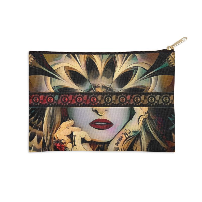 The Lady of a Thousand Swords (Desert Tribal Fractal Fusion) Accessories Zip Pouch by The Fractal Art of San Jaya Prime