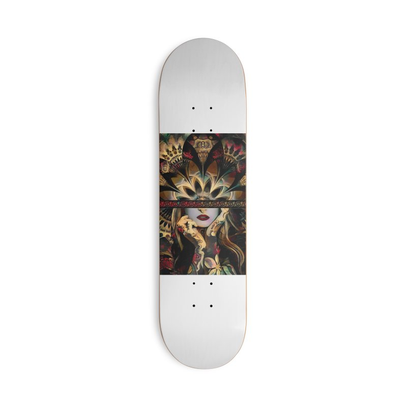 The Lady of a Thousand Swords (Desert Tribal Fractal Fusion) Accessories Skateboard by The Fractal Art of San Jaya Prime