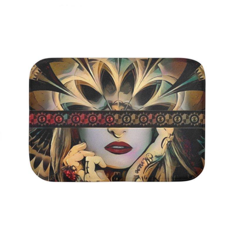 The Lady of a Thousand Swords (Desert Tribal Fractal Fusion) Home Bath Mat by The Fractal Art of San Jaya Prime