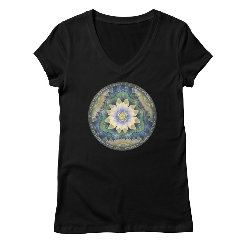 The Pastel Petals of Spring's First Lotus Blossom Women's V-Neck by The Fractal Art of San Jaya Prime