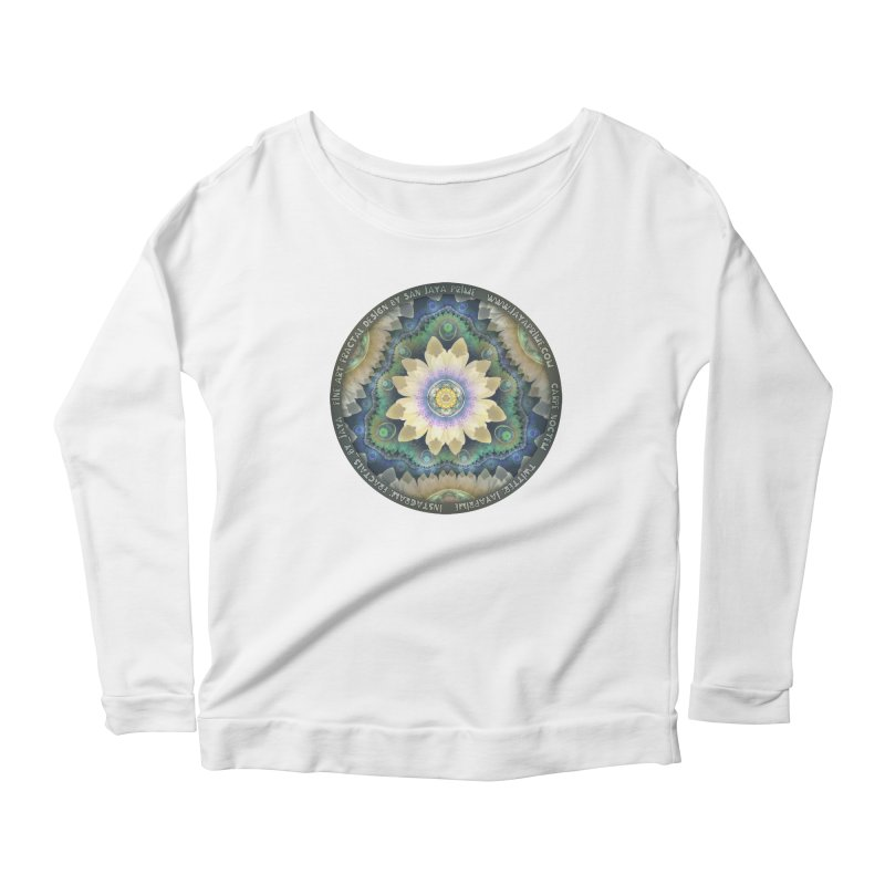 The Pastel Petals of Spring's First Lotus Blossom Women's Scoop Neck Longsleeve T-Shirt by The Fractal Art of San Jaya Prime