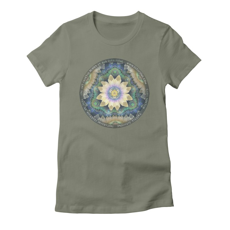 The Pastel Petals of Spring's First Lotus Blossom Women's Fitted T-Shirt by The Fractal Art of San Jaya Prime