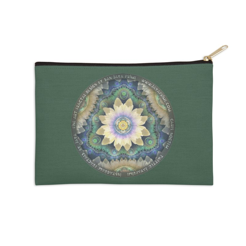 The Pastel Petals of Spring's First Lotus Blossom Accessories Zip Pouch by The Fractal Art of San Jaya Prime