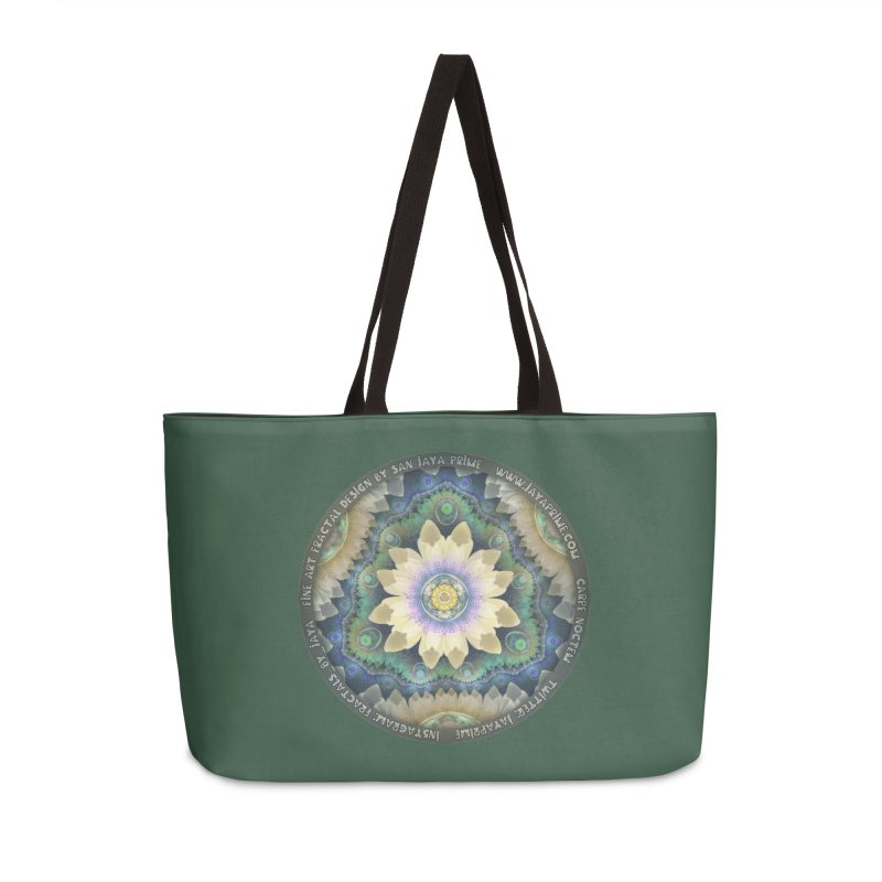 The Pastel Petals of Spring's First Lotus Blossom Accessories Weekender Bag Bag by The Fractal Art of San Jaya Prime