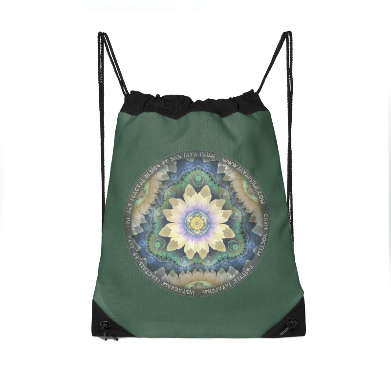 The Pastel Petals of Spring's First Lotus Blossom Accessories Drawstring Bag Bag by The Fractal Art of San Jaya Prime