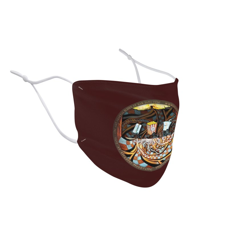 Night at the Route 66 Drive-In Movie Theater Accessories Face Mask by The Fractal Art of San Jaya Prime