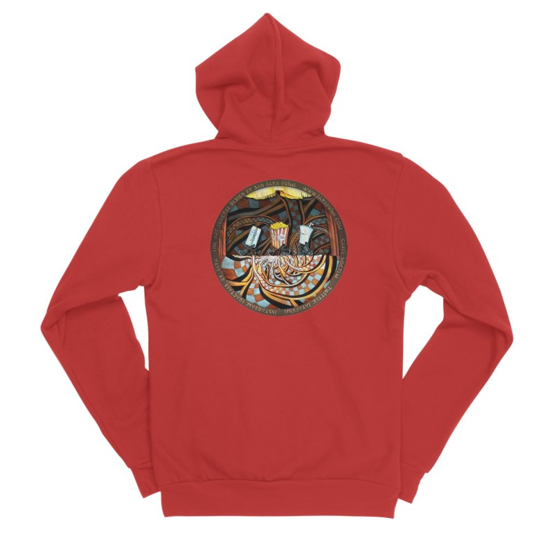 Night at the Route 66 Drive-In Movie Theater Women's Zip-Up Hoody by The Fractal Art of San Jaya Prime
