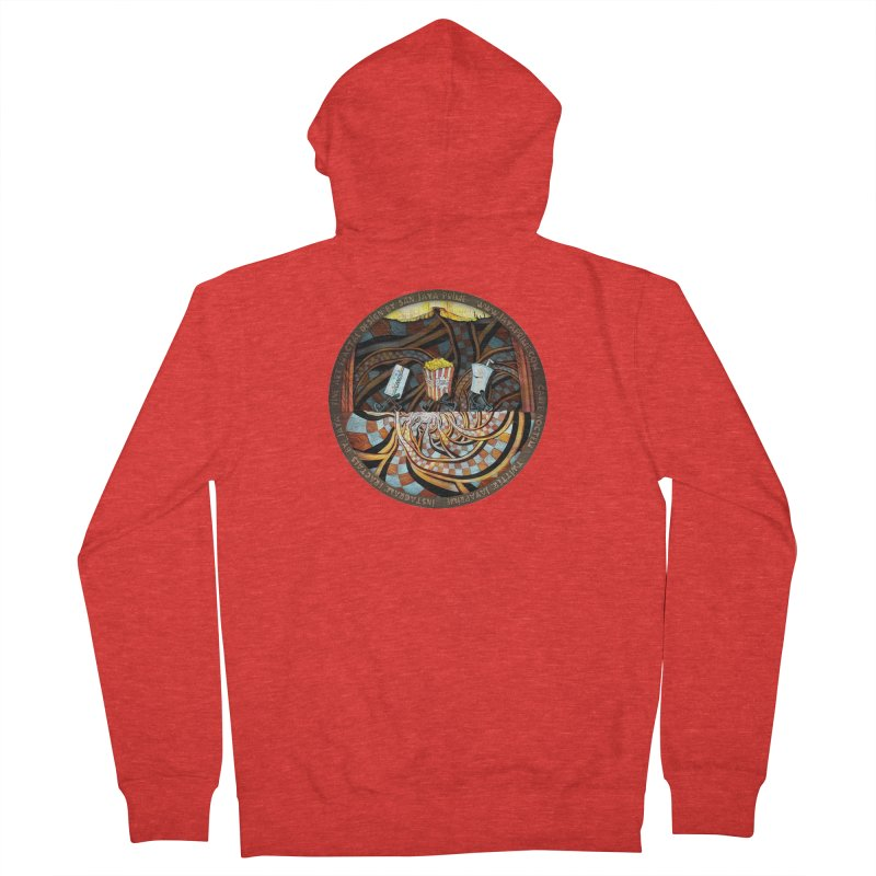 Night at the Route 66 Drive-In Movie Theater Men's Zip-Up Hoody by The Fractal Art of San Jaya Prime