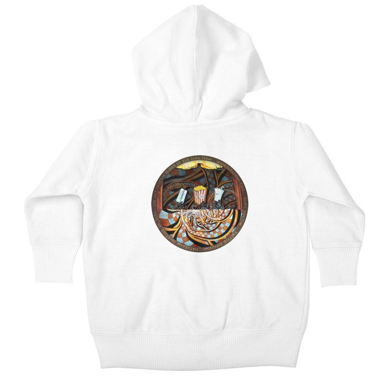 Night at the Route 66 Drive-In Movie Theater Kids Baby Zip-Up Hoody by The Fractal Art of San Jaya Prime