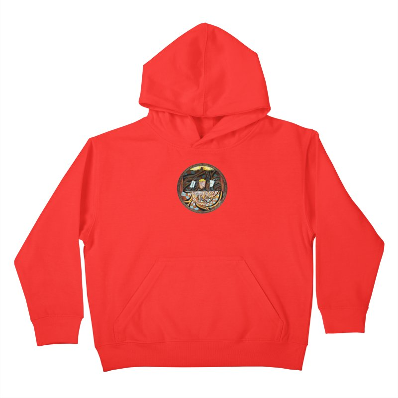 Night at the Route 66 Drive-In Movie Theater Kids Pullover Hoody by The Fractal Art of San Jaya Prime