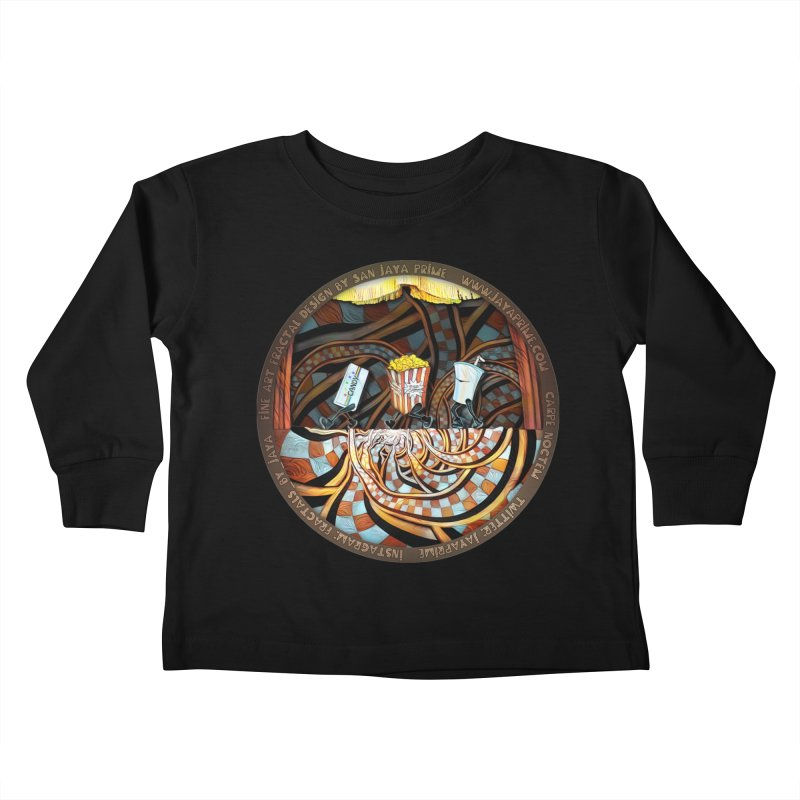 Night at the Route 66 Drive-In Movie Theater Kids Toddler Longsleeve T-Shirt by The Fractal Art of San Jaya Prime