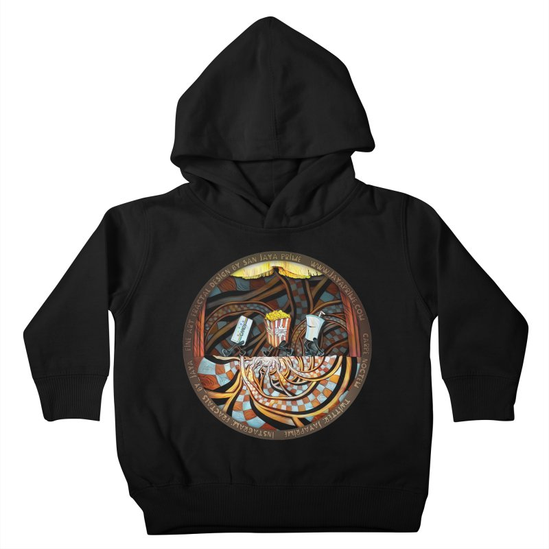 Night at the Route 66 Drive-In Movie Theater Kids Toddler Pullover Hoody by The Fractal Art of San Jaya Prime